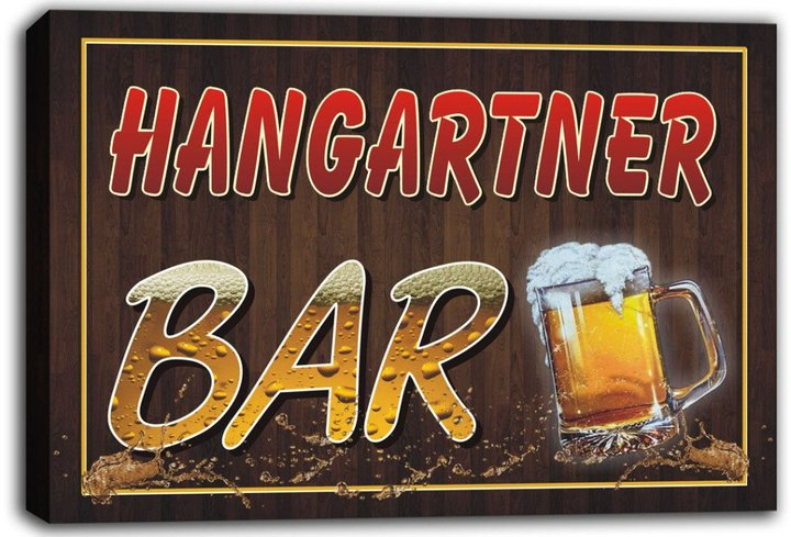 AdvPro Canvas scw3-049708 HANGARTNER Name Home Bar Pub Beer Mugs Stretched Canvas Print Sign
