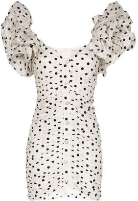 Alessandra Rich Polka Dot Puff-Sleeve Mini Dress