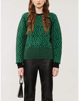 Stella McCartney Abstract-pattern raglan-sleeves wool jumper