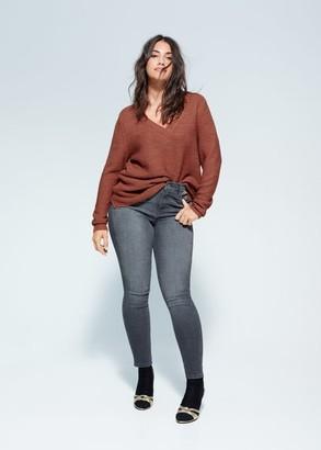 MANGO Violeta BY V-neck sweater burnt orange - M - Plus sizes