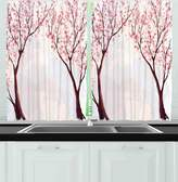 SCOCICI Kitchen Decor Collection Japanese Floral Design Sakura Tree Cherry Blossom Spring Country Home Watercolor Style Window Treatments for Kitchen Curtains 2 Panels Pastel Pink
