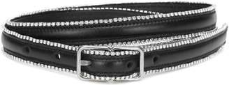 Saint Laurent Crystal-embellished leather belt