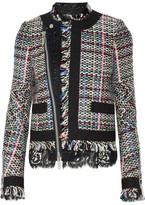 Sacai Corded Lace And Twill-trimmed Tweed Jacket - Black