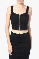 7 For All Mankind The Zip Bodice Top In Black Runway Denim