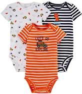Carter's Just One You Baby Boys' 3 Pack Short Sleeve Bodysuit Set Blue Tiger