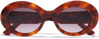 Balenciaga Oval-frame Tortoiseshell Acetate Sunglasses