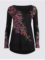 Per Una Floral Print Satin Hem Long Sleeve Top