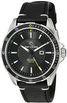 Rip Curl Men's 'DVR-100 Surf' Quartz Stainless Steel and Leather Sport Watch, Color:Black (Model: A2893-BLK)