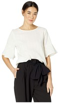 Vince Camuto Short Sleeve Ruffle Cuff Stripe Texture Blouse (Pearl Ivory) Women's Blouse