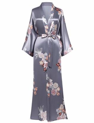 Coucoland Women's Kimono Dressing Gown Satin Kimono Robe Long Chinese Japanese Style for Nightwear Girl's Bonding Party Wedding Pajama Party 135cm/53inches (Pea Green)