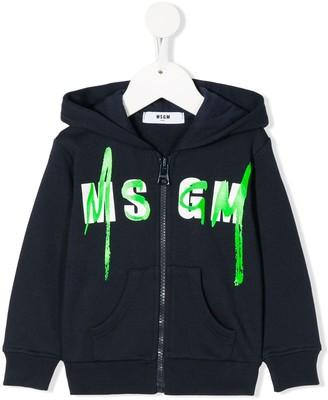 Msgm Kids Logo Stamp Hoodie