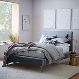 west elm Andes Deco Upholstered Bed - Steel Blue (Luster Velvet)