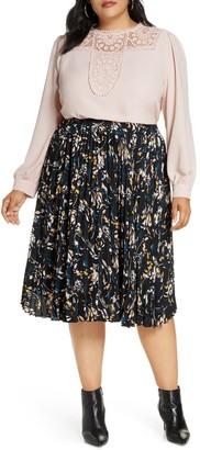 Halogen Pleated Skirt (Plus Size)