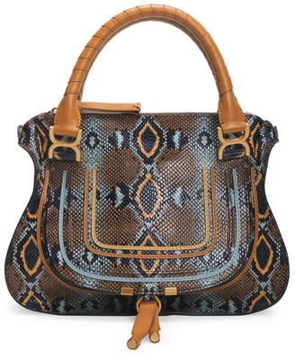 Chloé Medium Marcie Python-Embossed Leather Satchel