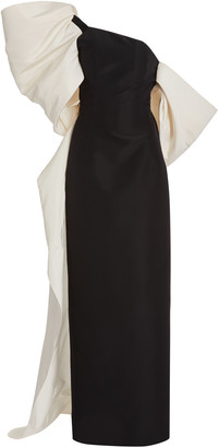 Carolina Herrera Bow-Embellished Silk-Faille Gown