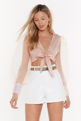 Nasty Gal Womens Five Sheer Plan Tie Cropped Top - Nude