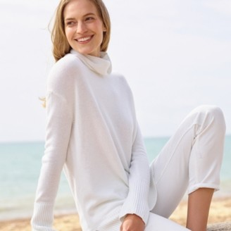 The White Company Collapse Neck Jumper with Cashmere, Porcelain, 12