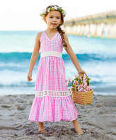 Mia Belle Girls Girls' Casual Dresses Pink - Pink Gingham Lace-Insert Ruffle Maxi Dress - Toddler & Girls