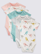 Marks and Spencer 5 Pack Pure Cotton Bird Bodysuits