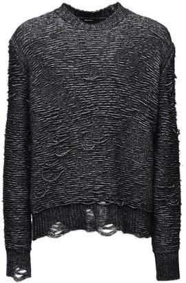 Diesel Distressed Cotton Blend Knit Sweater
