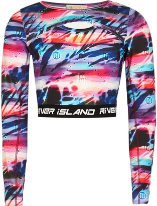 River Island Girls Blue tie dye crop top