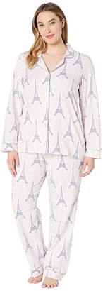 Bedhead Pajamas Plus Size Long Sleeve Classic Notch Collar Pajama Set (Colette's Eiffel) Women's Pajama Sets