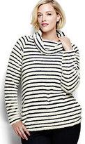 Classic Women's Plus Size Plush Fleece Pullover-Ivory/Midnight Indigo Stripe