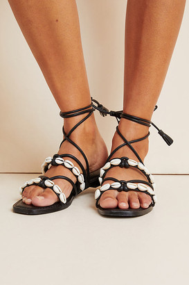 Anthropologie Puka Ankle-Tie Sandals By in Black Size 6
