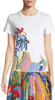 Mary Katrantzou Pop-Art Print Crewneck Short-Sleeve Cotton Tee