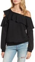 Lush Women's One-Shoulder Ruffle Sweatshirt