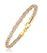 Ice 14K Tri-Tone Gold Braided Design Multi Strand Mirror Spring Bracelet