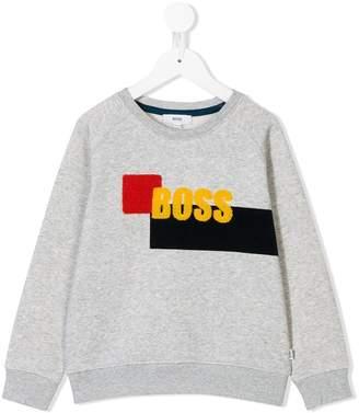 Boss Kids textured logo relaxed-fit sweatshirt