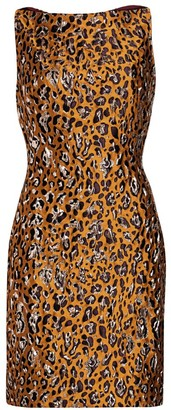 Zac Posen Metallic Leopard Print Boatneck Sheath Dress