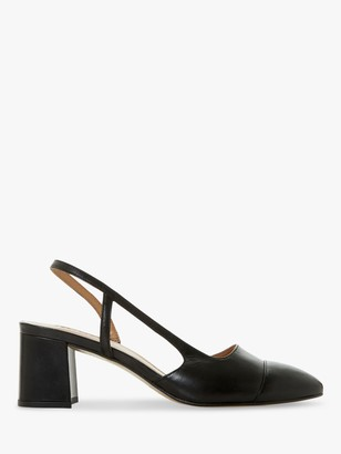 Dune Croft Leather Pointed Toe Court Shoes, Black