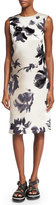 Marc Jacobs Brushstroke-Floral Print Sheath Dress, Gray