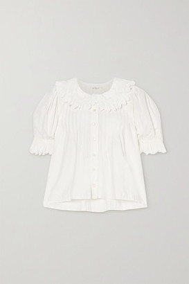 DÔEN Rune Scalloped Embroidered Cotton-poplin Blouse - White