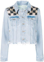 Off-White checkered sequin denim jacket