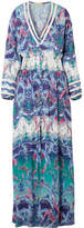 Melissa Odabash Caroline Smocked Printed Voile Maxi Dress - Blue