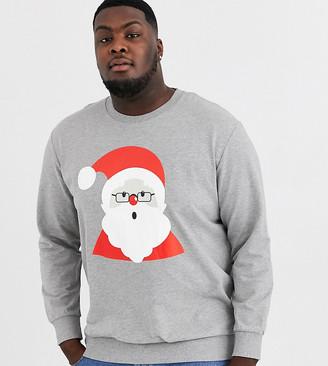 Jack and Jones Plus Christmas santa sweatshirt-Grey