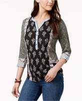 Style&Co. Style & Co Style & Co Petite Mixed-Print Roll-Tab Top, Created for Macy's