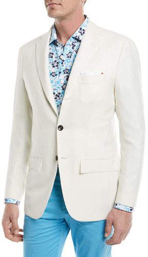 Kiton Cashmere-Silk Three-Button Blazer