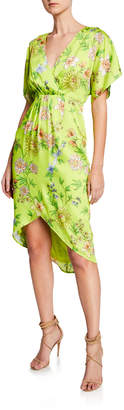 Aidan Mattox Dolman-Sleeve Pleated Floral Short-Sleeve Dress