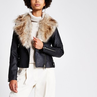 River Island Black quilted faux fur fitted biker jacket