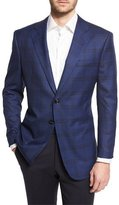 Giorgio Armani Plaid Two-Button Wool Jacket, Navy
