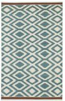Tribeca Flatweave Turquoise Geo Wool Rug (9' x 12')