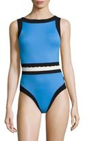 Shan Three of A Kind One-Piece Colorblock Swimsuit