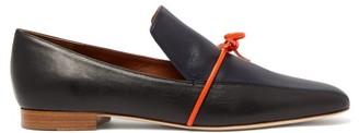 Malone Souliers X Roksanda Celia Navy Knotted Leather Loafers - Womens - Navy Multi