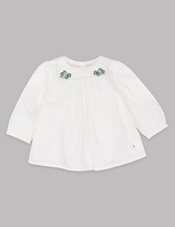 Autograph Pure Cotton Embroidered Collar Top