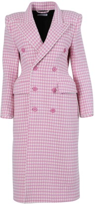 Balenciaga Pink And White Plaid Double-breasted Coat