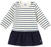 Petit Bateau Baby girls dual material dress